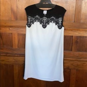 Black and white lace top dress